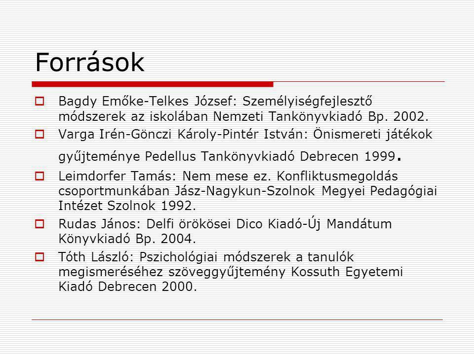Források Bagdy Emőke-Telkes József: Személyiségfejlesztő módszerek az iskolában Nemzeti Tankönyvkiadó Bp. 2002.