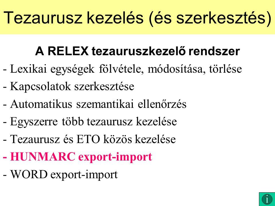 Tezaurusz kezelés (és szerkesztés)