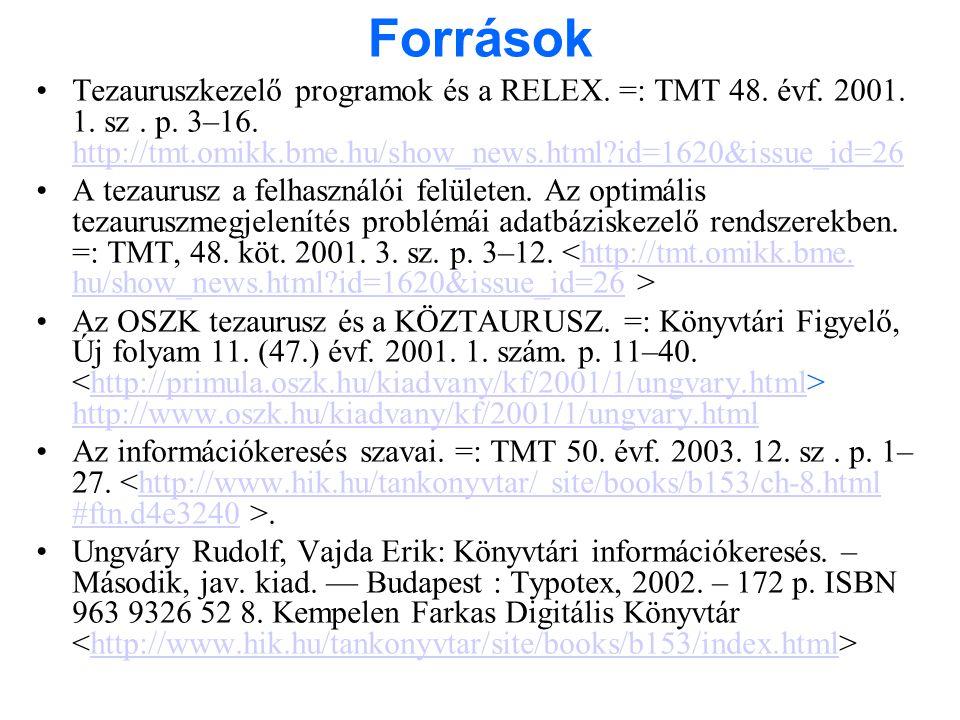 Források Tezauruszkezelő programok és a RELEX. =: TMT 48. évf. 2001. 1. sz . p. 3–16. http://tmt.omikk.bme.hu/show_news.html id=1620&issue_id=26.