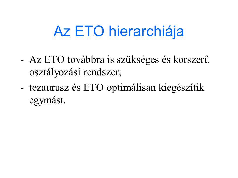 Az ETO hierarchiája - Az ETO továbbra is szükséges és korszerű osztályozási rendszer; - tezaurusz és ETO optimálisan kiegészítik egymást.