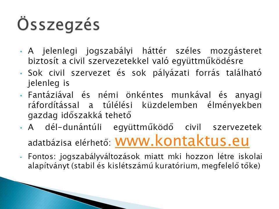 Összegzés A jelenlegi jogszabályi háttér széles mozgásteret biztosít a civil szervezetekkel való együttműködésre.