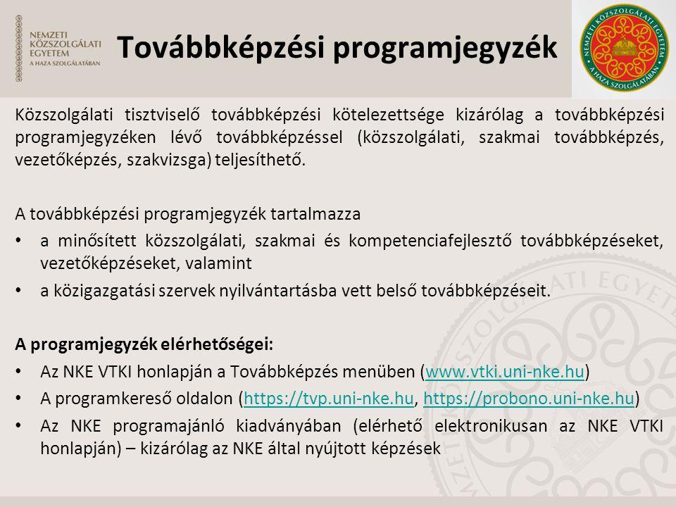 Továbbképzési programjegyzék