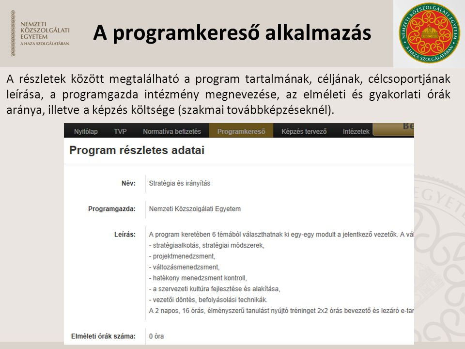 A programkereső alkalmazás