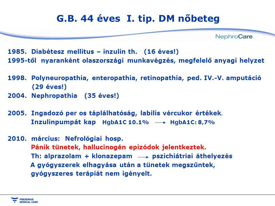 G.B. 44 éves I. tip. DM nőbeteg Diabétesz mellitus – inzulin th. (16 éves!)