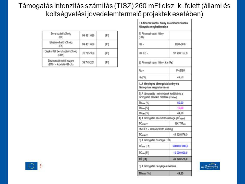 Támogatás intenzitás számítás (TISZ) 260 mFt elsz. k
