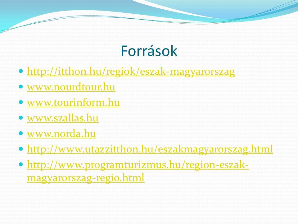 Források http://itthon.hu/regiok/eszak-magyarorszag www.nourdtour.hu