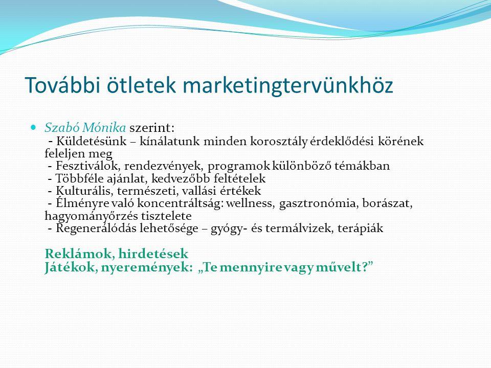 További ötletek marketingtervünkhöz