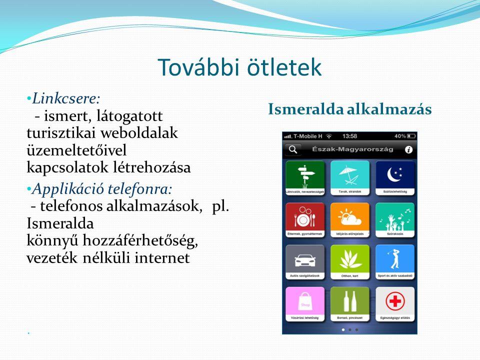 További ötletek Linkcsere: - ismert, látogatott turisztikai weboldalak üzemeltetőivel kapcsolatok létrehozása.