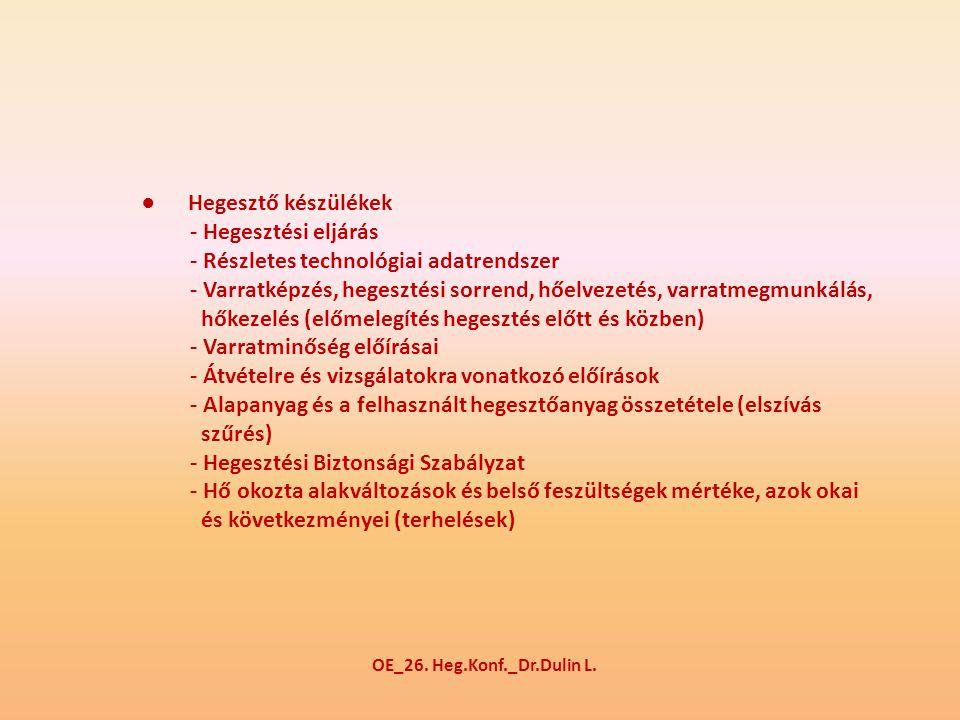 ● Hegesztő készülékek - Hegesztési eljárás - Részletes technológiai adatrendszer - Varratképzés, hegesztési sorrend, hőelvezetés, varratmegmunkálás, hőkezelés (előmelegítés hegesztés előtt és közben) - Varratminőség előírásai - Átvételre és vizsgálatokra vonatkozó előírások - Alapanyag és a felhasznált hegesztőanyag összetétele (elszívás szűrés) - Hegesztési Biztonsági Szabályzat - Hő okozta alakváltozások és belső feszültségek mértéke, azok okai és következményei (terhelések) OE_26.