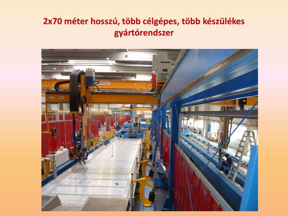 2x70 méter hosszú, több célgépes, több készülékes gyártórendszer