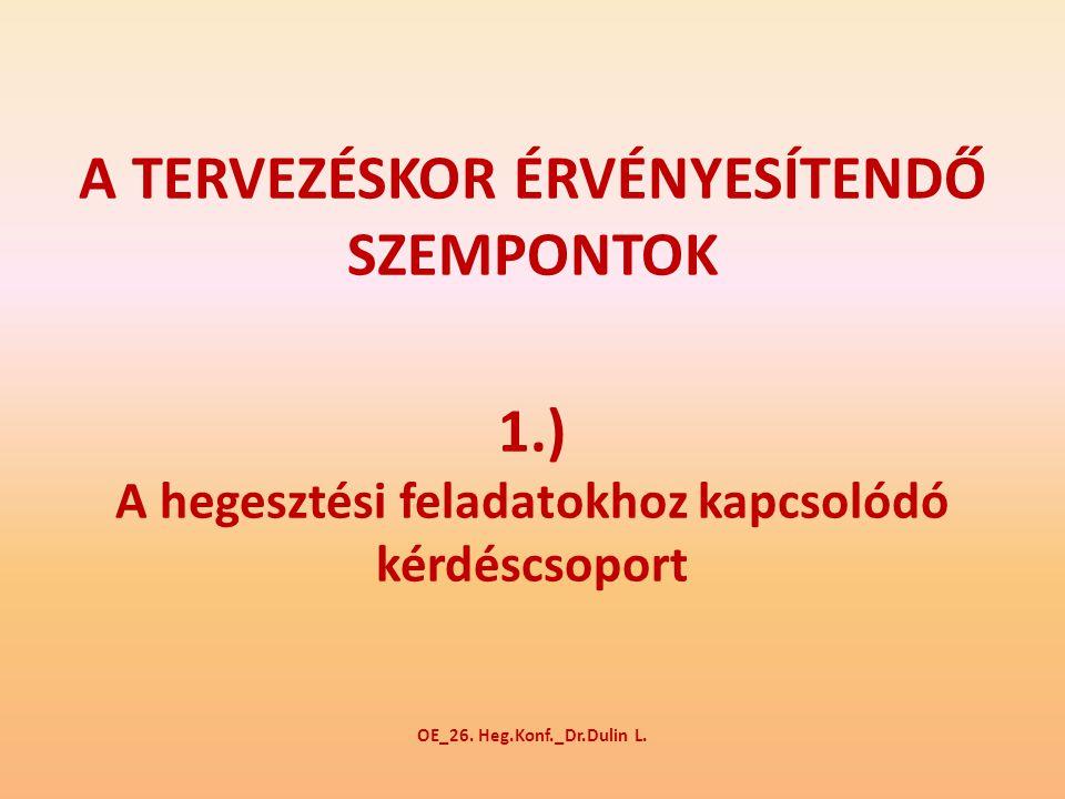 A TERVEZÉSKOR ÉRVÉNYESÍTENDŐ SZEMPONTOK 1