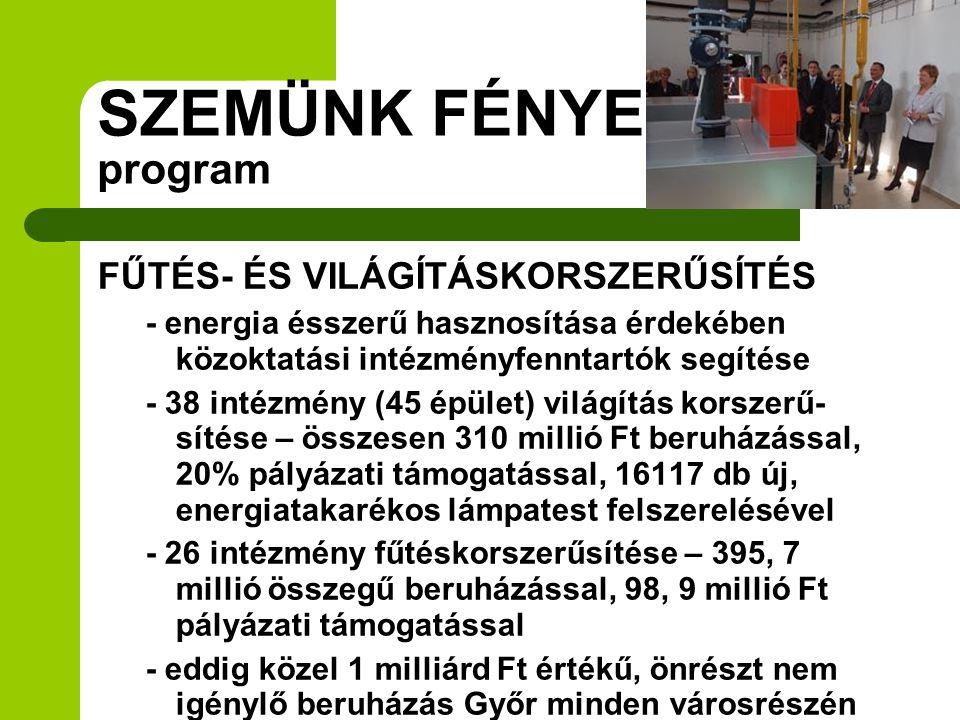 SZEMÜNK FÉNYE program FŰTÉS- ÉS VILÁGÍTÁSKORSZERŰSÍTÉS