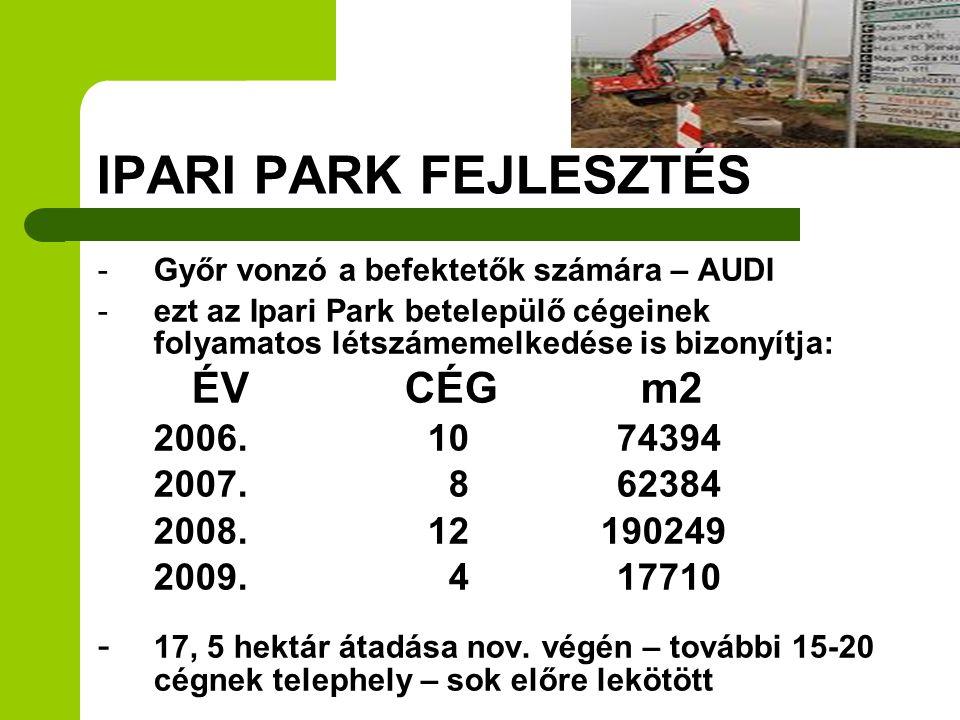 IPARI PARK FEJLESZTÉS ÉV CÉG m2 2006. 10 74394 2007. 8 62384