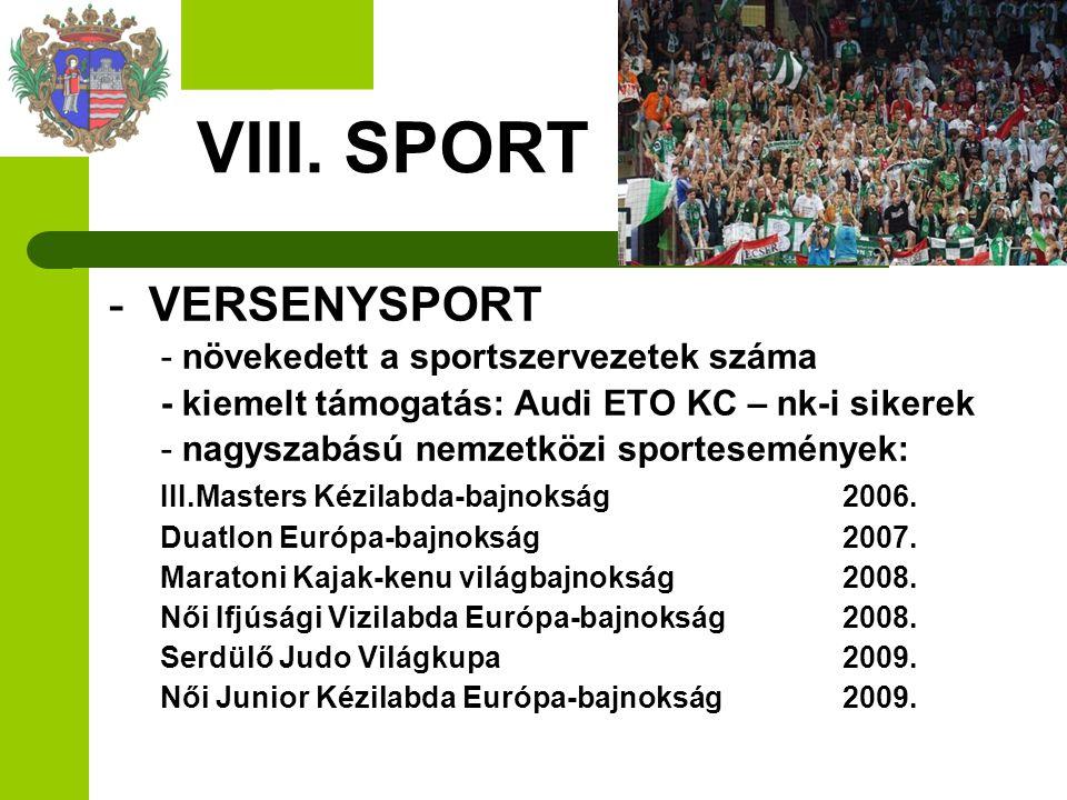 VIII. SPORT VERSENYSPORT - növekedett a sportszervezetek száma