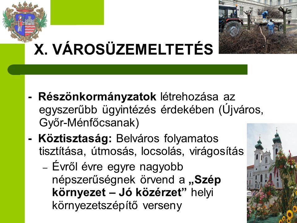 X. VÁROSÜZEMELTETÉS - Részönkormányzatok létrehozása az egyszerűbb ügyintézés érdekében (Újváros, Győr-Ménfőcsanak)
