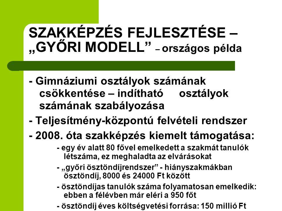 """SZAKKÉPZÉS FEJLESZTÉSE – """"GYŐRI MODELL – országos példa"""