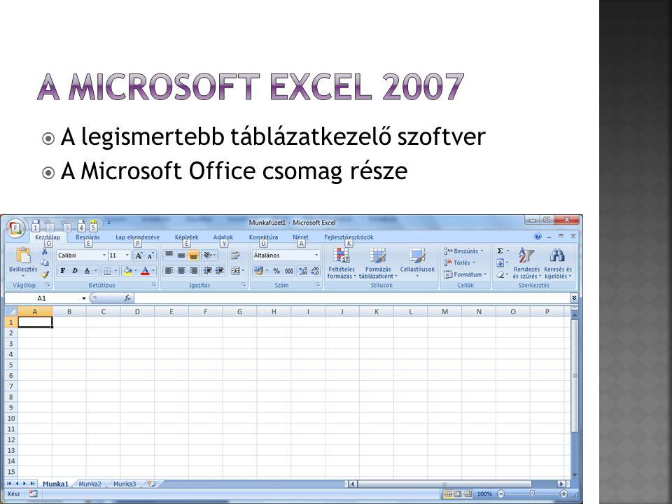 A Microsoft Excel 2007 A legismertebb táblázatkezelő szoftver