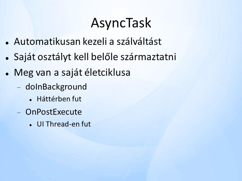 AsyncTask Automatikusan kezeli a szálváltást