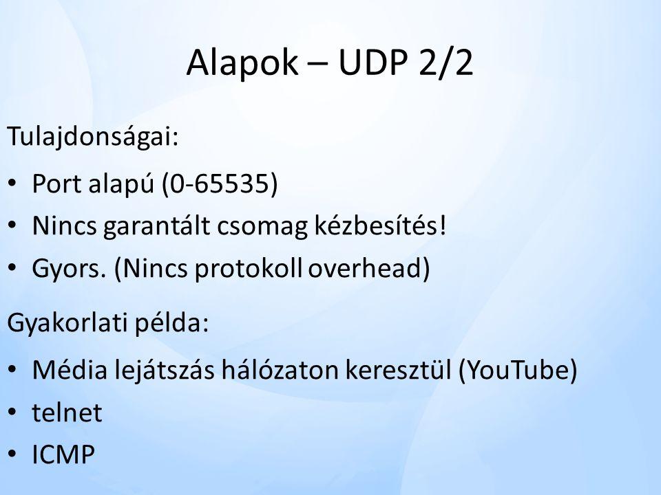 Alapok – UDP 2/2 Tulajdonságai: Port alapú (0-65535)