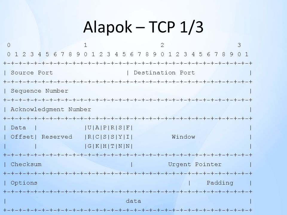 Alapok – TCP 1/3 0 1 2 3. 0 1 2 3 4 5 6 7 8 9 0 1 2 3 4 5 6 7 8 9 0 1 2 3 4 5 6 7 8 9 0 1.