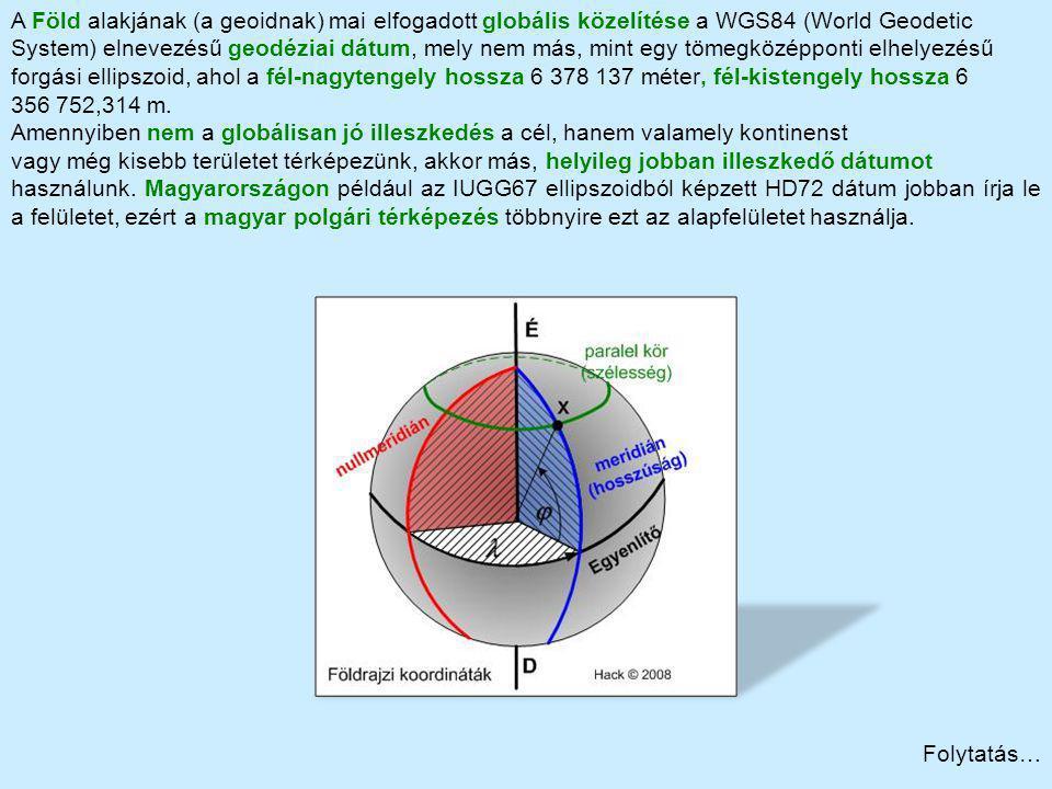 A Föld alakjának (a geoidnak) mai elfogadott globális közelítése a WGS84 (World Geodetic
