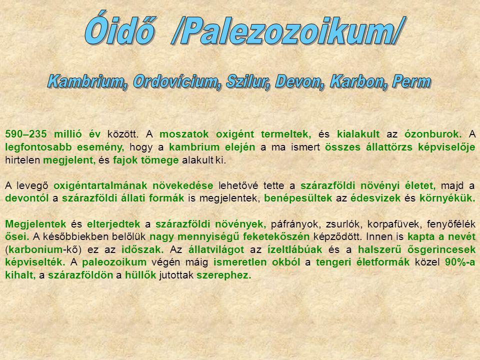 Kambrium, Ordovícium, Szilur, Devon, Karbon, Perm