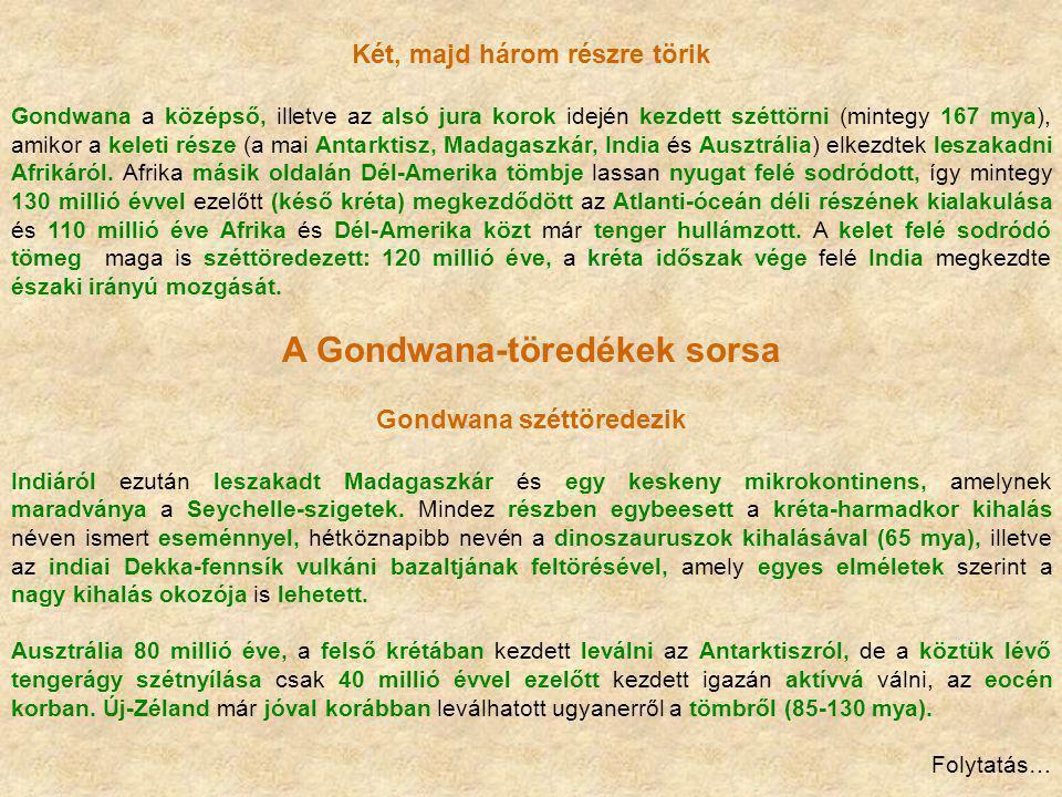 A Gondwana-töredékek sorsa