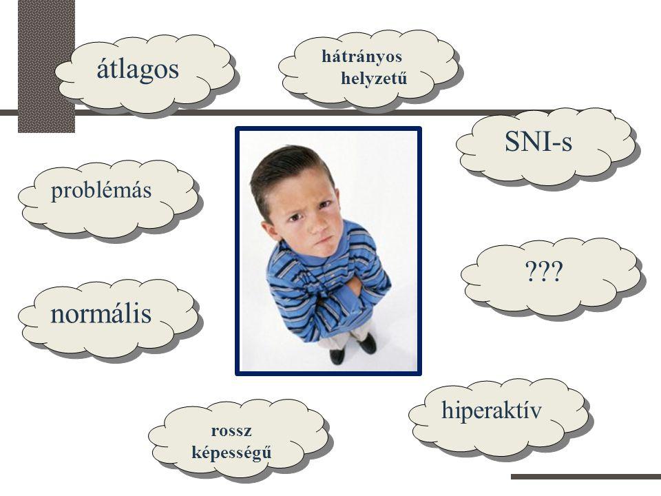 átlagos SNI-s normális hiperaktív problémás hátrányos helyzetű