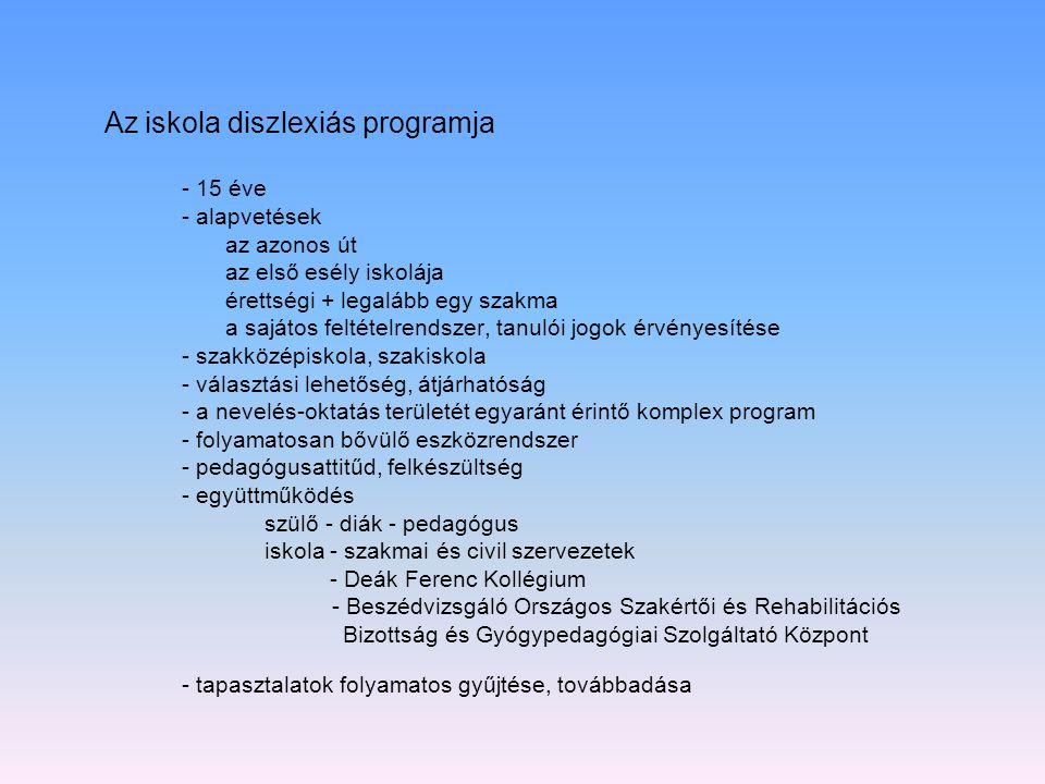 Az iskola diszlexiás programja