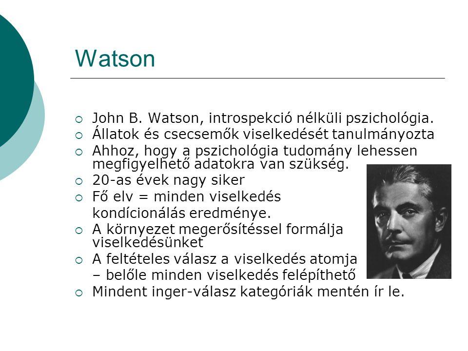Watson John B. Watson, introspekció nélküli pszichológia.