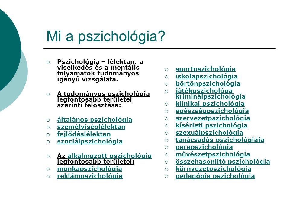 Mi a pszichológia Pszichológia – lélektan, a viselkedés és a mentális folyamatok tudományos igényű vizsgálata.