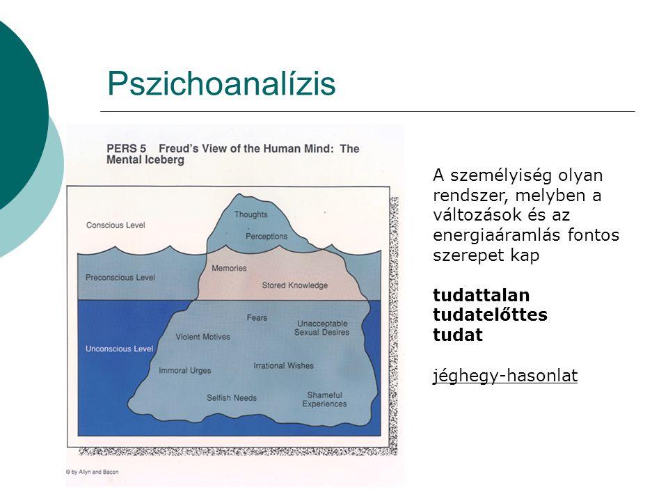 Pszichoanalízis A személyiség olyan rendszer, melyben a változások és az energiaáramlás fontos szerepet kap.