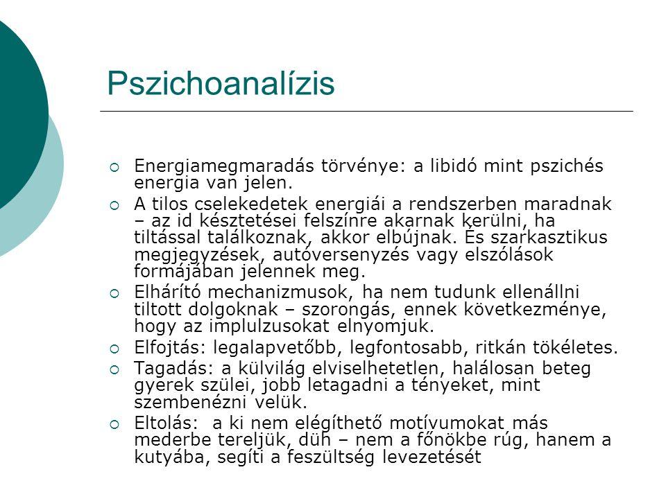 Pszichoanalízis Energiamegmaradás törvénye: a libidó mint pszichés energia van jelen.