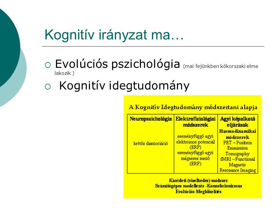 Kognitív irányzat ma… Evolúciós pszichológia (mai fejünkben kőkorszaki elme lakozik ) Kognitív idegtudomány.