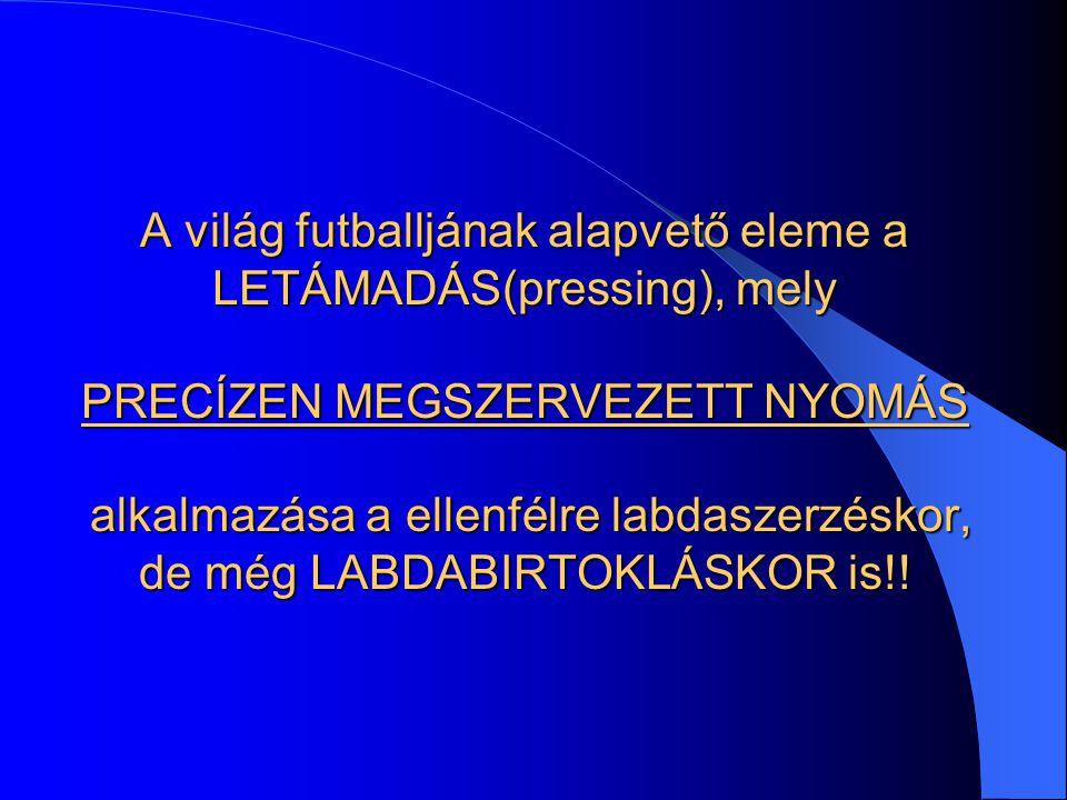 A világ futballjának alapvető eleme a LETÁMADÁS(pressing), mely PRECÍZEN MEGSZERVEZETT NYOMÁS alkalmazása a ellenfélre labdaszerzéskor, de még LABDABIRTOKLÁSKOR is!!
