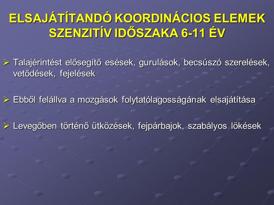 ELSAJÁTÍTANDÓ KOORDINÁCIOS ELEMEK SZENZITÍV IDŐSZAKA 6-11 ÉV