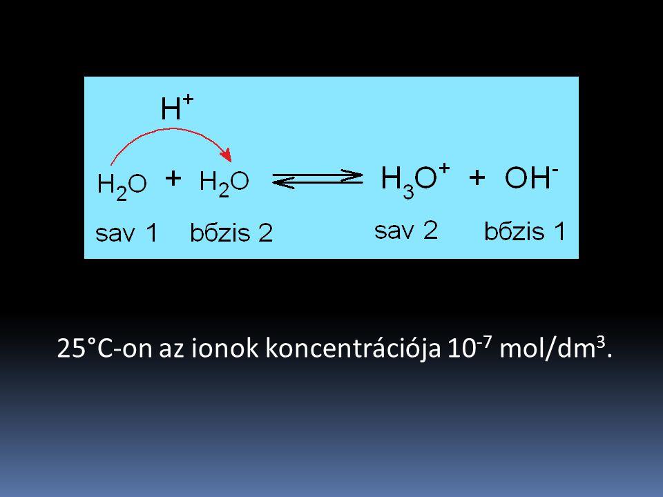 25°C-on az ionok koncentrációja 10-7 mol/dm3.