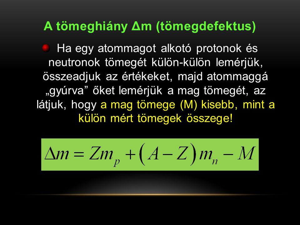 A tömeghiány Δm (tömegdefektus)