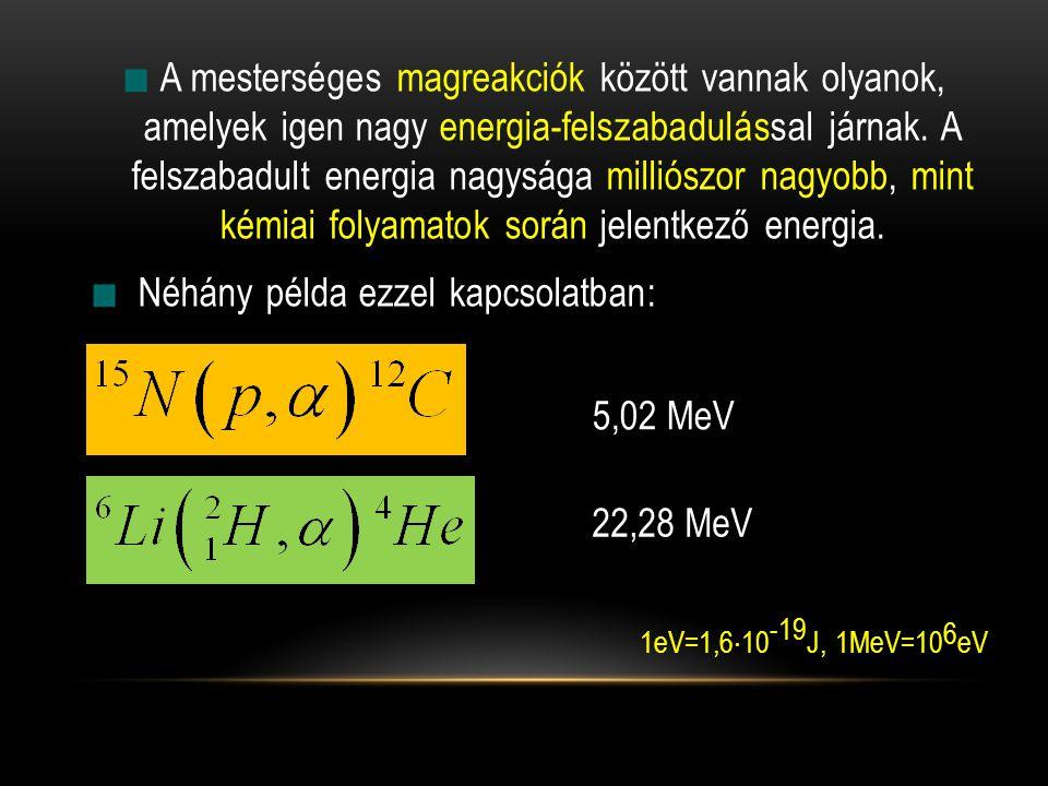 A mesterséges magreakciók között vannak olyanok, amelyek igen nagy energia-felszabadulással járnak. A felszabadult energia nagysága milliószor nagyobb, mint kémiai folyamatok során jelentkező energia.