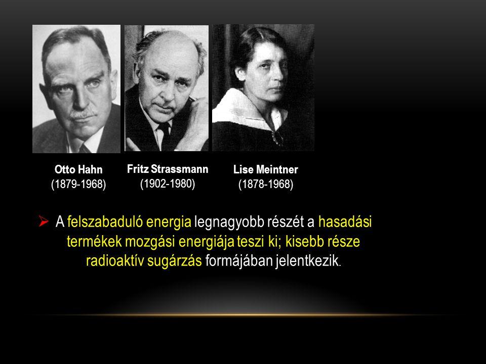 Otto Hahn (1879-1968) Fritz Strassmann. (1902-1980) Lise Meintner. (1878-1968)
