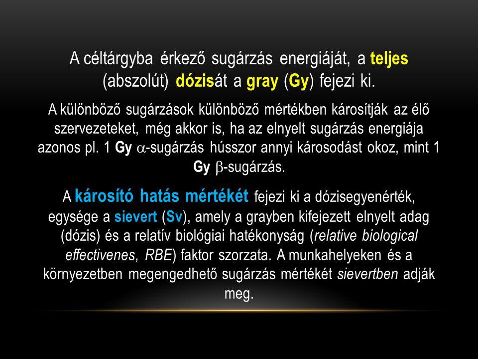 A céltárgyba érkező sugárzás energiáját, a teljes (abszolút) dózisát a gray (Gy) fejezi ki.