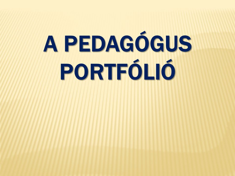 A pedagógus portfólió