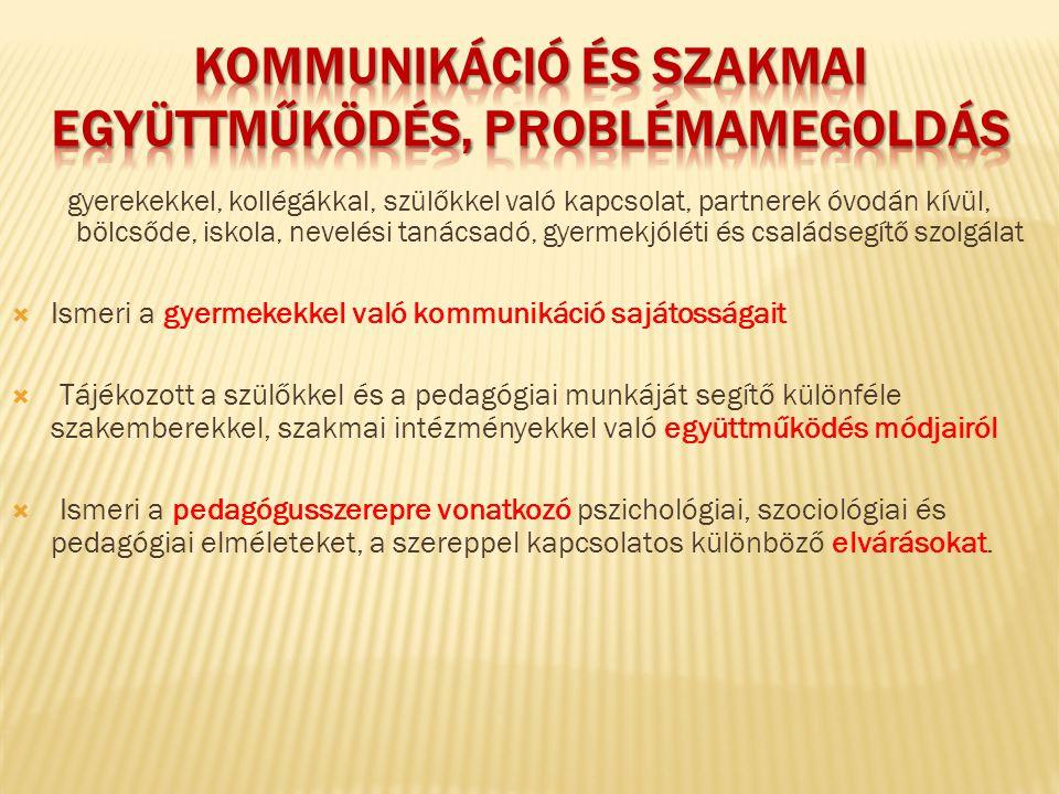 kommunikáció és szakmai együttműködés, problémamegoldás