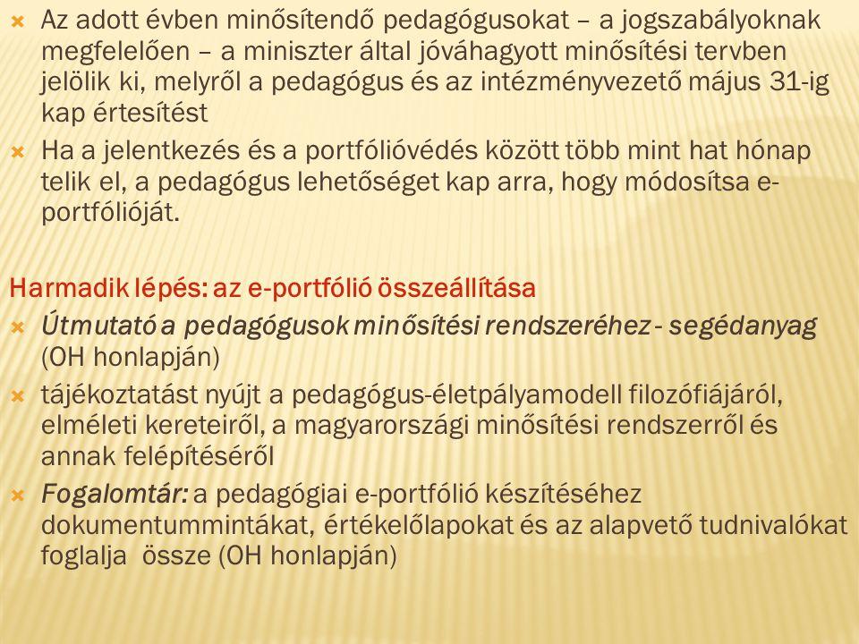 Az adott évben minősítendő pedagógusokat – a jogszabályoknak megfelelően – a miniszter által jóváhagyott minősítési tervben jelölik ki, melyről a pedagógus és az intézményvezető május 31-ig kap értesítést