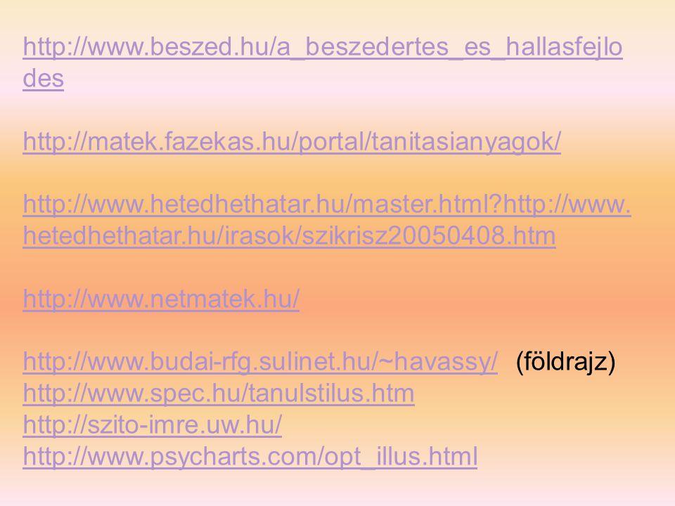 http://www.beszed.hu/a_beszedertes_es_hallasfejlodes http://matek.fazekas.hu/portal/tanitasianyagok/