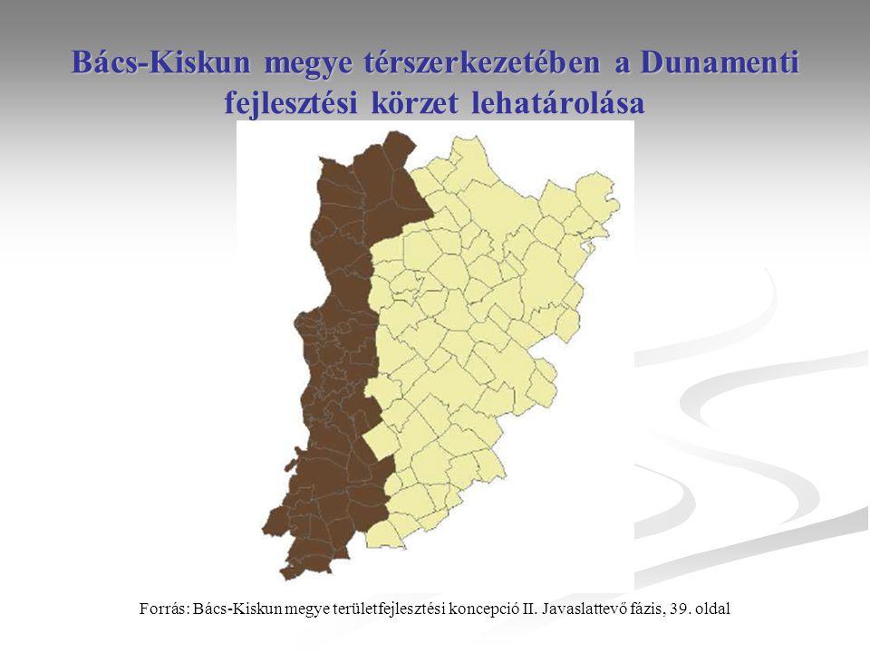Bács-Kiskun megye térszerkezetében a Dunamenti fejlesztési körzet lehatárolása