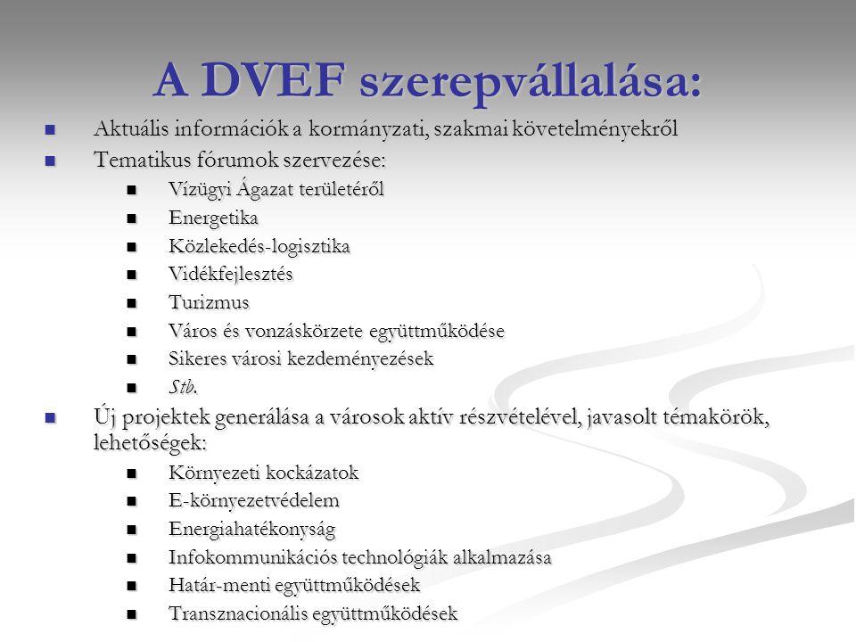 A DVEF szerepvállalása: