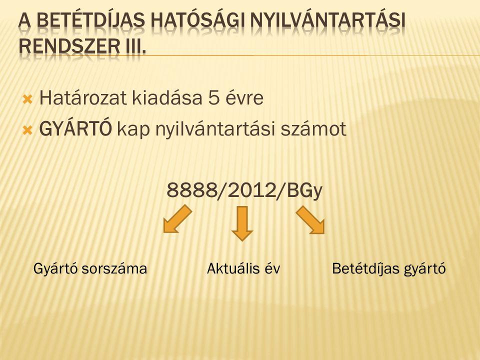 A betétdíjas hatósági nyilvántartási rendszer IIi.