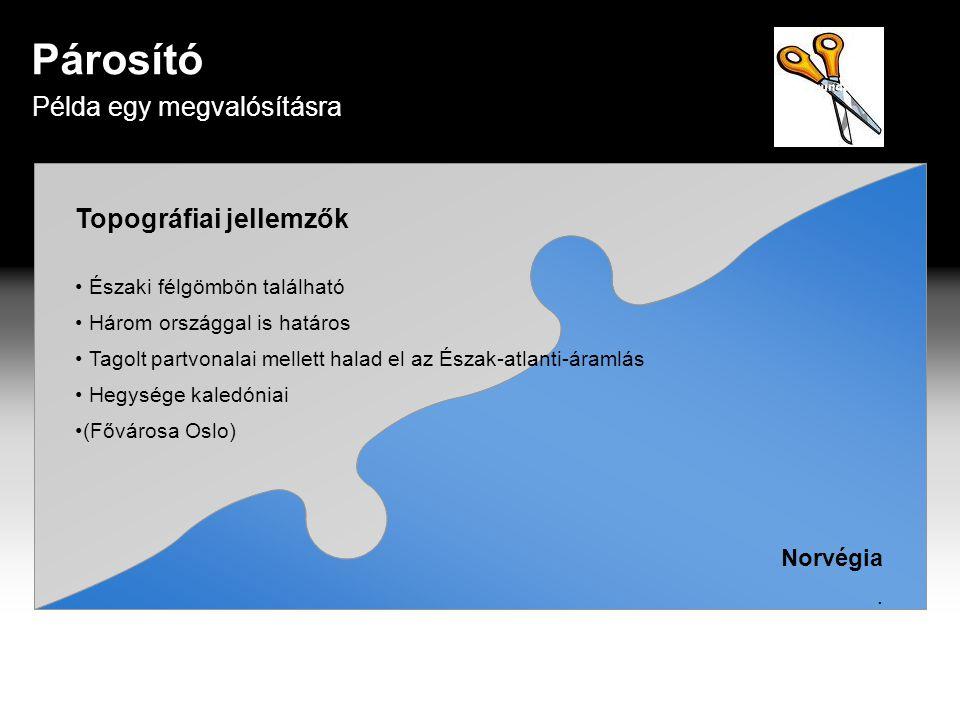 Párosító Példa egy megvalósításra Topográfiai jellemzők Norvégia