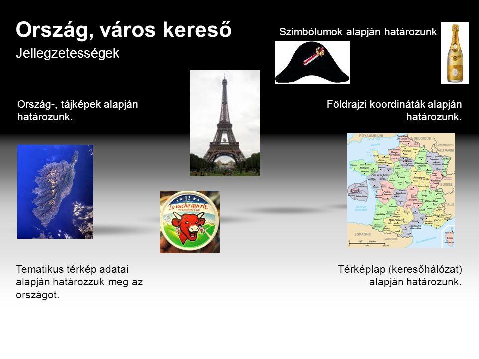 Ország, város kereső Jellegzetességek Szimbólumok alapján határozunk